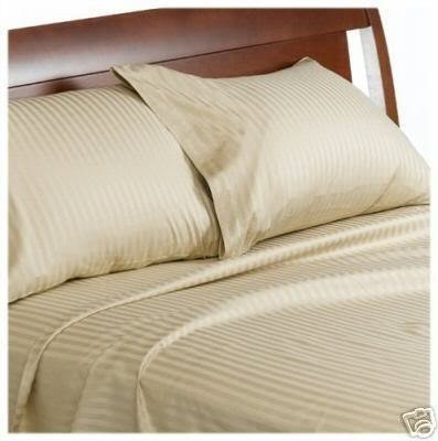 King Größe 1200Fadenzahl Streifen beige 100% ägyptische Baumwolle 1200TC Bed Sheet Set Fadenzahl 1.200(Deep Pocket) - 1200tc Streifen