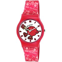 Mr Men and Little Miss Boy's Quartz Watch with White Dial Analogue Display and Red PU Strap LM0008