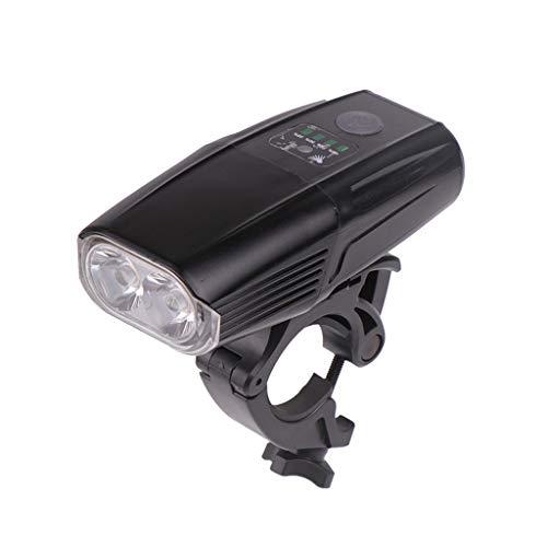 Loxmy Aufladbare Mountainbike-Scheinwerfer L2 + mit Ladeanzeige leuchten Fahrradlicht wiederaufladbar Fahrrad Lichtkopf Taschen Lampe Fahrradzubehör Kleine Kopflicht scheint (Schwarz)