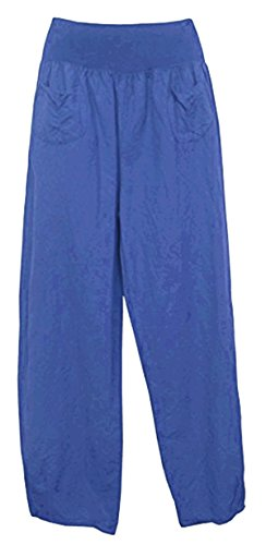 CELEBMODELOOK R14 New Womens Linen Trousers with Elastic Waistband, 2 Patch Pockets at The Front in Plus Size. Made in Italy
