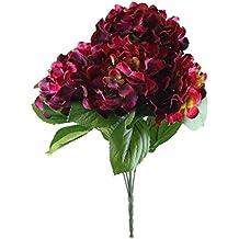 Better & Best 2911029 - Ramo de 5 hortensias artificiales, grandes, color rojo
