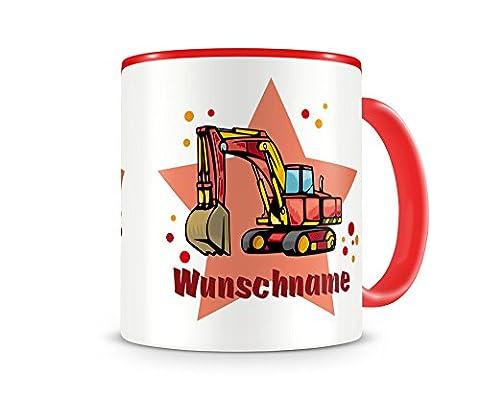 Kinder-Tasse mit Namen und einem Großen Bagger als Motiv Bild Kaffeetasse Teetasse Becher Kakaotasse H:95mm/D:82mm Nr.15: