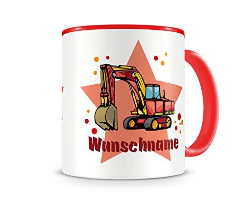 plot4u Kinder-Tasse mit Namen und einem Großen Bagger als Motiv Bild Kaffeetasse Teetasse Becher...