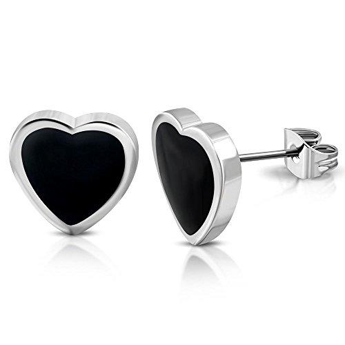 Bungsa Orecchini cuore nero Argento Acciaio inossidabile Unisex