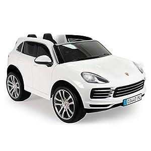 INJUSA Porsche Cayenne S Licenciado Color Blanco de 12V Biplaza para niños de más de 3 Años, (719)