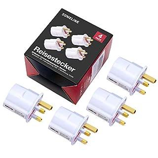 4X Reiseadapter Adapter Stecker für England - Reisestecker Stromadapter Schuko EU zu UK Steckdose Travel Plug Schottland Irland in Weiß SOMELINE.
