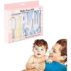 Yober Set Para Cuidado De Bebé Set Para Recien Nacidos 10 Pcs Con Aspirador Nasal Cepillo de Dientes de Dedo Termómetro Cortauña Tijeras Cepillo de Pelo y Peine Etc