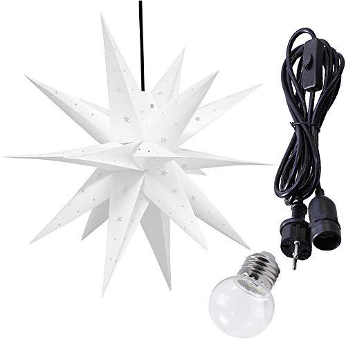 ETiME 3D Leuchtstern Kunststoff Ø60 cm Außenstern Weihnachtsstern für Innen und Außen geeignet IP44 hängend 3,5 m Zuleitung Weihnachtsdeko Weiß