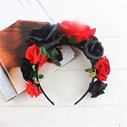 VHVCX Weihnachtskranz Hochzeit Kranz Kopfschmuck Halloween Kranz Stirnband Kopfschmuck Kopfschmuck, Schwarz