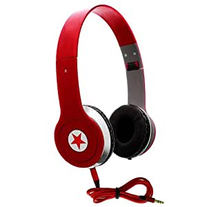 CellBig Crystallized Stereo Red Hot Foldable Headphones Earphone Headset Hands Free Headband Super Bass Effect Included Detachable AUX Cable Lead Wire Cord Open Air Design For Your LG C310 / C320 InTouch Lady / Town / C360 / C365 / Lucid2 VS870 / C375 Cookie Tweet / C710 Aloha / C900 Optimus 7Q / Connect 4G MS840