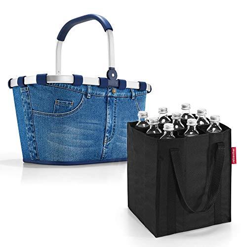 reisenthel Set Carrybag Plus farblich passender bottlebag Einkaufskorb Einkaufstasche (Jeans)