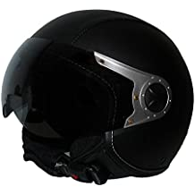 Protectwear–Casco Jet motocicleta casco H710con cubierta de cuero sintético en diseño de piloto, color negro