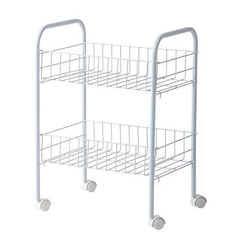 AGWa Rollwagen Küchenwagen Gemüse Rack Servierwagen 3 Mesh-Speicher-Korb mit 4 Rädern Pantry Storage Rack für Küche Badezimmer, 2tier,2tier -