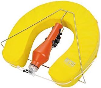 Herradura salvavidas Amarillo con flash Boya en soporte