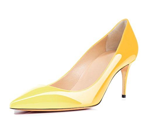 Chaussures Femme Ubeauty - Chaussures À Talon - Chaussures À Talons Hauts Classiques - Talon Aiguille - 65 Mm Avec Talons Hauts Jaune-multicolore