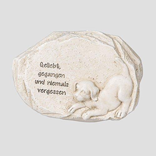 Tier Grabschmuck Hund Grabstein Gedenkstein Spruch Grab Deko Stein Garten Figur