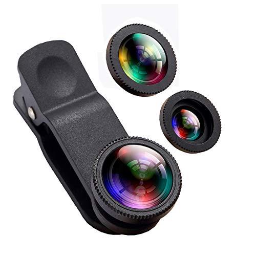 Oande Handy iPhone Kamera, 3in 1Fischaugen Objektiv & 10x Macro Objektiv & 0,65x Weitwinkel-Objektiv, Handy HD Kamera-Objektiv-Kits für iPhone 7/6S Plus//6S/5S und andere Geräte