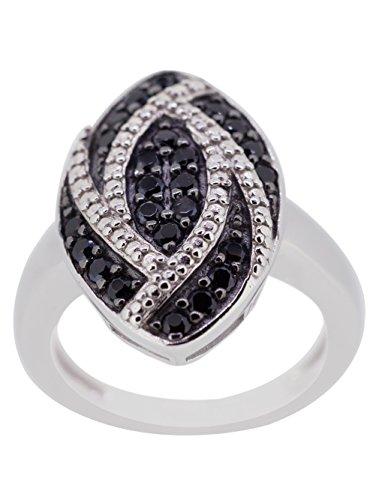 kamya-Anello da donna in argento 925rodiato con spinello nero r3074bksp, argento, 54 (17.2), colore: nero/bianco, cod. R3074