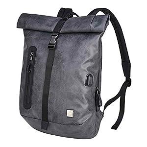 BAIGIO Mochila Antirrobo Impermeable USB Mochila Portatil 15.6/14 Pulgadas Hombre Bolso de Viaje Trabajo Rolltop Backpack, Gris