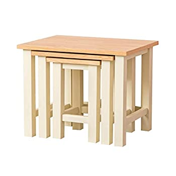 RoselandFurniture Farrow Cream Nest Of Tables   Set of 3 Nesting Coffee Tables, Painted Solid Wooden Small Occasional Country Nested Side Lamp Stands for Living Room, Fully Assembled