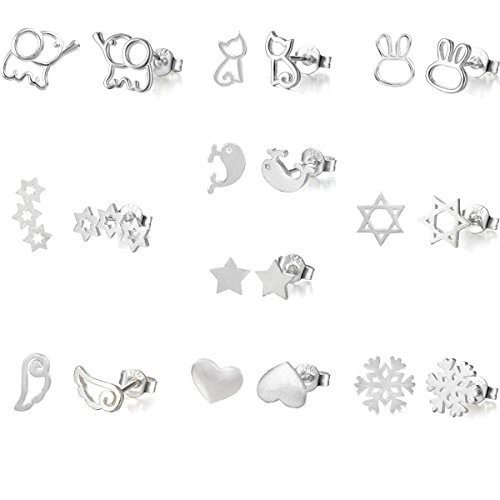bf5b8488acf8 10 Pairs Silver Plated Post Cute Animal Fruit Stud Earrings Set  Hypo-Allergenic (elephant