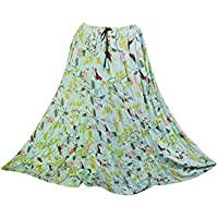 Mogul Interior Womens Skirts Green Floral Printed Cotton Bohemian Gypsy Maxi Skirts