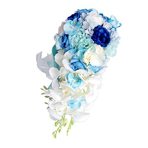 MagiDeal Brautstrauß Blumenstrauß künstlicher Rosenstrauß Hochzeit Deko künstlicher Rosenstrauß - Blau, 46 x 42 cm (Blau Brautstrauß)
