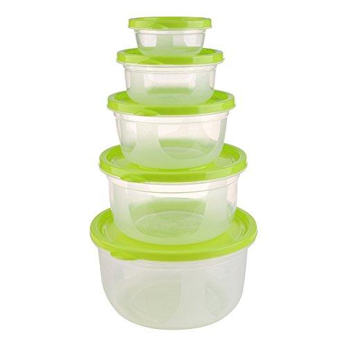 Jiazugo 5 pezzi di plastica di immagazzinaggio Container-Set, Standard Durable Coperchio clip contenitore di alimento, un regalo per un Cup (green1)