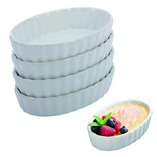 Westmark 4 Schälchen für Crème Brulée, Porzellan, Oval, 13,5 x 8,1 x 2,7 cm, Weiß, 23302260 Form Porzellan