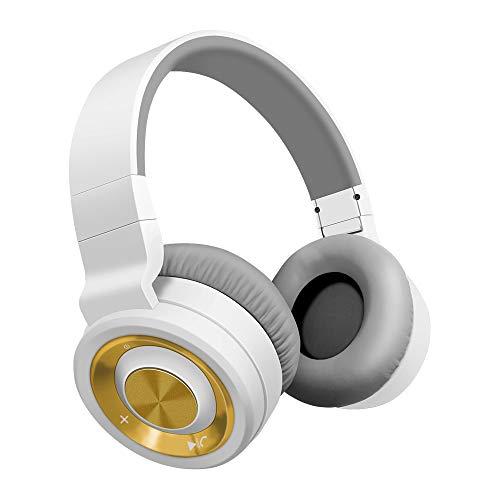 Bluetooth cuffie alitoo,senza fili headphones pieghevole auricolari wireless over ear cuffie con microfono cancellazione del rumore audio stereo hifi,compatibili con iphone, ipad,samsung, huawei, pc,tv(oro bianco)