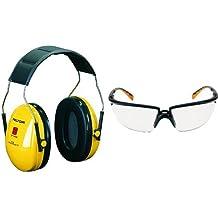 3M H510AC1 - Orejeras color amarillo + 71505-00001M - SOLUS Gafas montura negra/naranja PC incolora AR