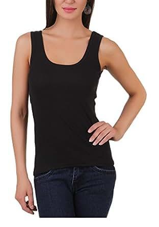 Q-rious Women's Cotton Lycra Camisole (505-001_Black_S)