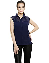 I Am For You Navy Blue Solid Women Shirt