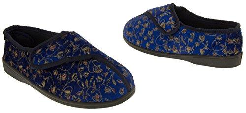 dames extra larges pantoufles diabétiques,36,37,38,39,40,41 Bleu Marine