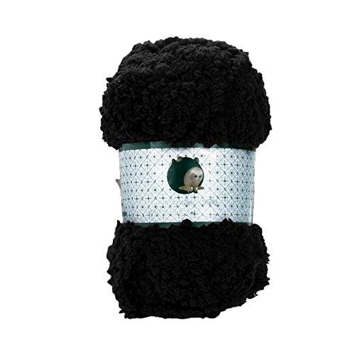 Greenlans Strickwolle, warm, weich, Chenille, Stricken, für Handtuch, Pullover, Schwarz , Black--671931 -