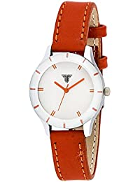 Traktime Monochrome Analog White Dial With Brown Leather Strap Watch For Women