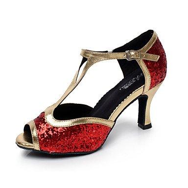 Silence @ pour femme Chaussures de danse latine/Salsa en similicuir évasé au niveau du talon Noir/rouge/argenté Red