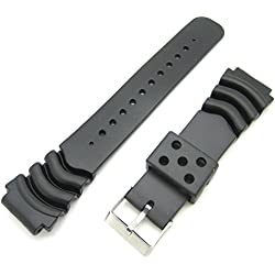 20mm Black Rubber Resin Divers Waterproof Strap For Seiko Z20 Z22 Type Watches