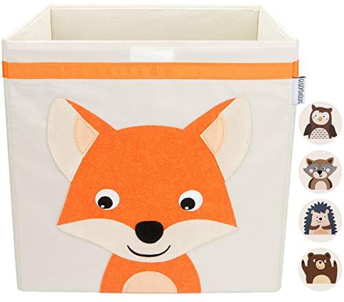 GLÜCKSWOLKE Aufbewahrungsbox Kinder I Spielzeug Kiste mit Deckel und Griffen I Spielzeugbox (33x33x33) zur Aufbewahrung im Kallax Regal I Waldtiere Motiv Fuchs für Kinderzimmer (Willi Wildfuchs)