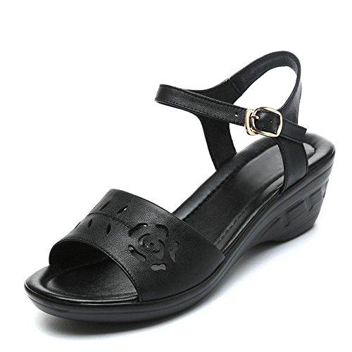 L@YC Femmes Sandales Pente avec La Bouche En Cuir De Poissons D'éTé Doux à La Fin De La Robe à Talons Hauts Grande Taille Des Chaussures Des Femmes Black