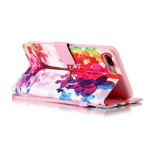 nancen Apple iPhone 5/5S/Si (4,0pollici) Cover, Colorful alto Qualità Portafoglio Pelle PU Bookstyle Portafoglio Flip Custodia Custodia PU Leather Case Wallet Cover con funzione supporto stand e slot arbre Rouge