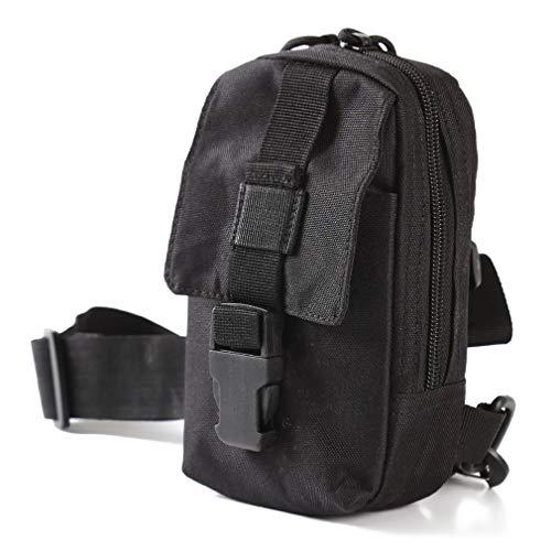 Faliya Outdoor Brusttasche Einzelne Schulter Umhängetasche Nylon Sling Bag für das Radfahren, Wandern, Schwarz -