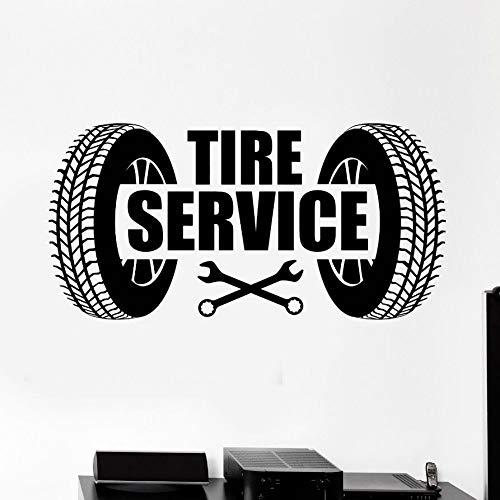 Decalcomania della parete del vinile Servizio di pneumatici per auto Logo Wall Sticker Riparazione auto Garage Wall Art Decorazione murale Car Service Wallpaper 85x42cm