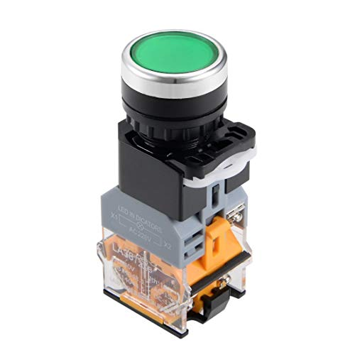 ZCHXD 22mm Momentary Push Button Switch Green LED Light Round Button DPST 1 NO 1 NC -
