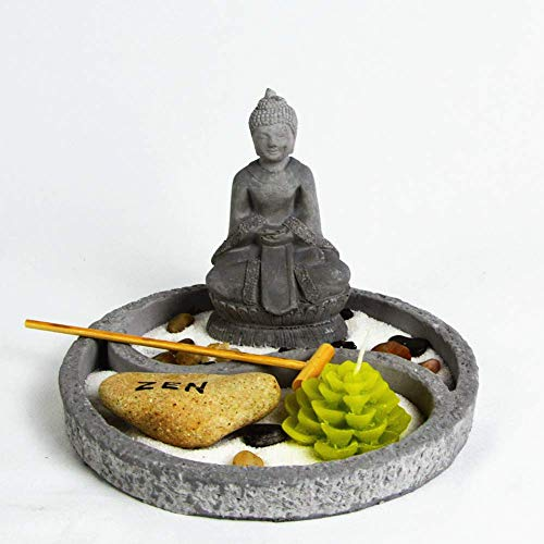 OM HOME Jardin Zen Figura Buda en Bandeja Redonda,con portavela en Forma de Flor de Loto, Roca y Arena decoración