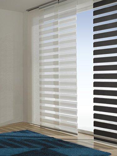 Easy-Shadow - 3 Sets Schiebevorhang Flächenvorhang mit Doppelrollo-Optik Breite 60 x 245 cm Höhe - 60x245 cm anthrazit - Duo Fensterjalousie Schiebegardine passend für Gardinenschienen Vorhangschienen Gardinenbretter Laufschienen Deckenleiste - inkl. Aluminiumprofil und Gleiter