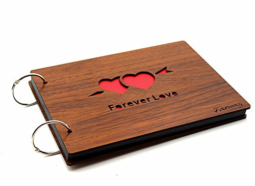 Farway Diy Photo Album Wood cover Full Love Anniversary Scrapbook 8 X 6 Inches with Black Pages As Memory Box Photo Picture Book Travel Record Custom Gift Album Great for wedding Anniversary Gifts(Forever Love)