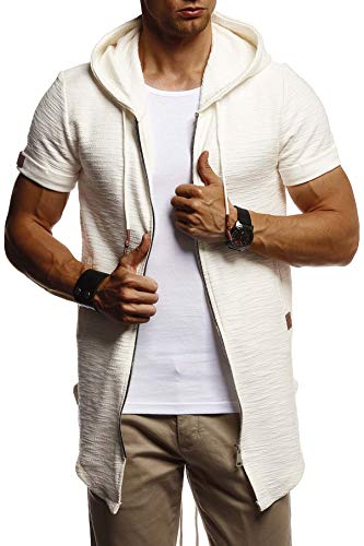 LEIF NELSON Herren Sommer Jacke mit Kapuze Sweatjacke T-Shirt Slim Fit Basic Baumwolle-Anteil | Basic Männer Kapuzenjacke | Kapuzenshirt Hoodie-Sweater Kurzarm lang | LN8301 Ecru XX-Large - Mit Kapuze Slim Fit Pullover