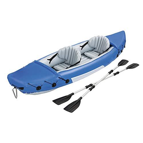 ZOUBIAG Schlauchboot Sport Kajak Kanu PVC Gummiboot Squat Sitz (Color : Blue, Size : 2-Person Boat)