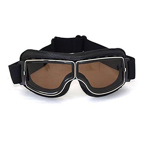 League & Co Brille Maske für Moto Cross Aviator Pilot Vintage aus PU Leder und PC Lens–UV